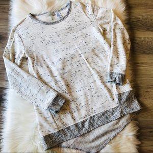 LOGO Lounge Hi- Low Sweater Shirt Marbled Size XS